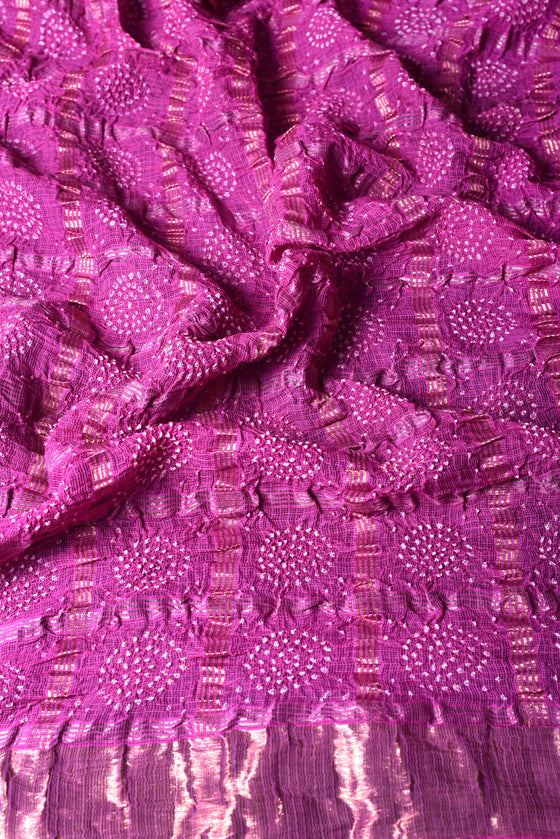Pure Zari Kota Saree with Bandhani in Purple