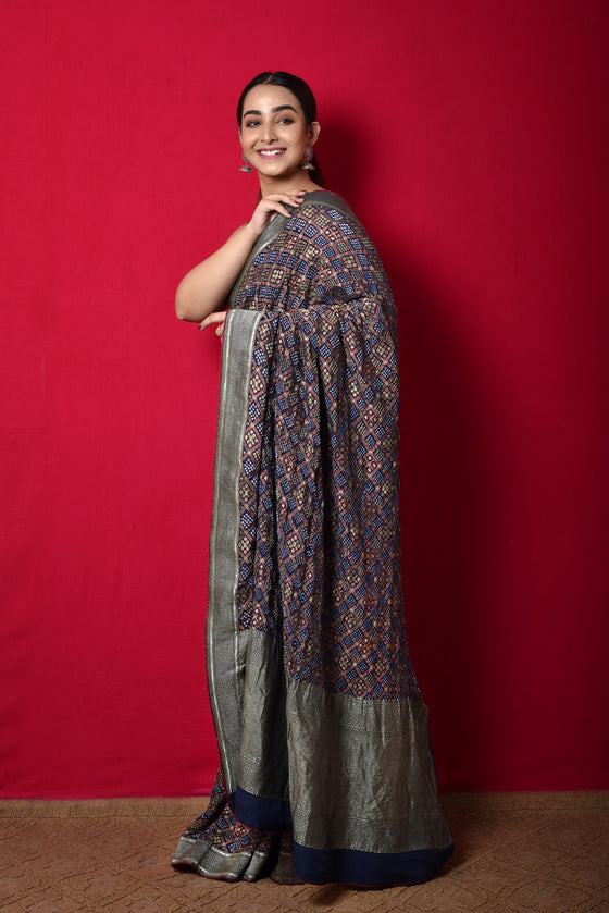 Meenakari Bandhani Saree in Midnight Blue