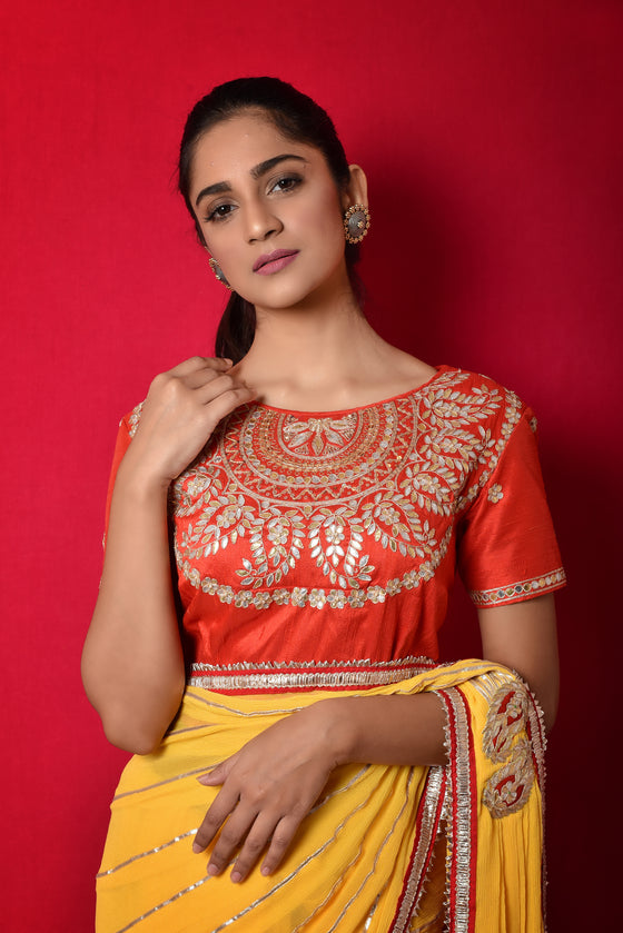 Pre Pleated Gota Embroidered Saree in Chiffon - Yellow + Red