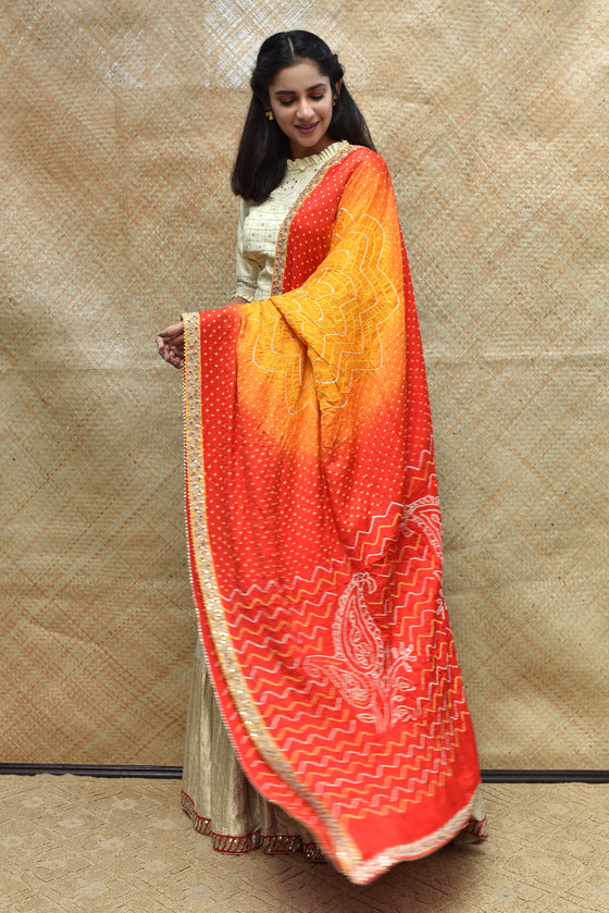Bandhani on Gaji Silk Peeliya Dupatta with Zardozi