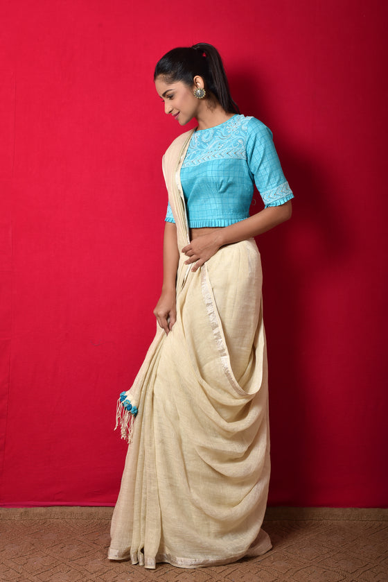Linen Saree with Chikankari Blouse
