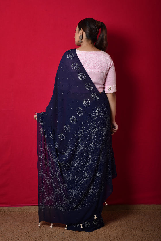 Georgette Bandhani Saree in Blue