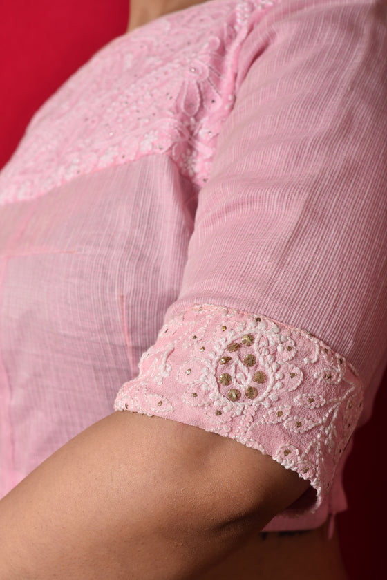 Chikankari Yoke Blouse in Baby Pink