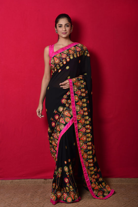Colourful Aari Hand Embroidered Saree in Black