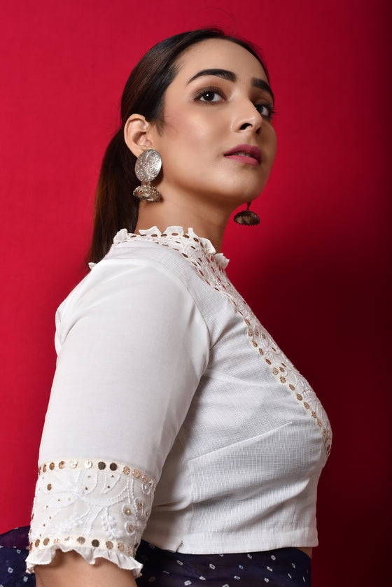 Classic Chikankari Mukaish Blouse in Georgette + Kota