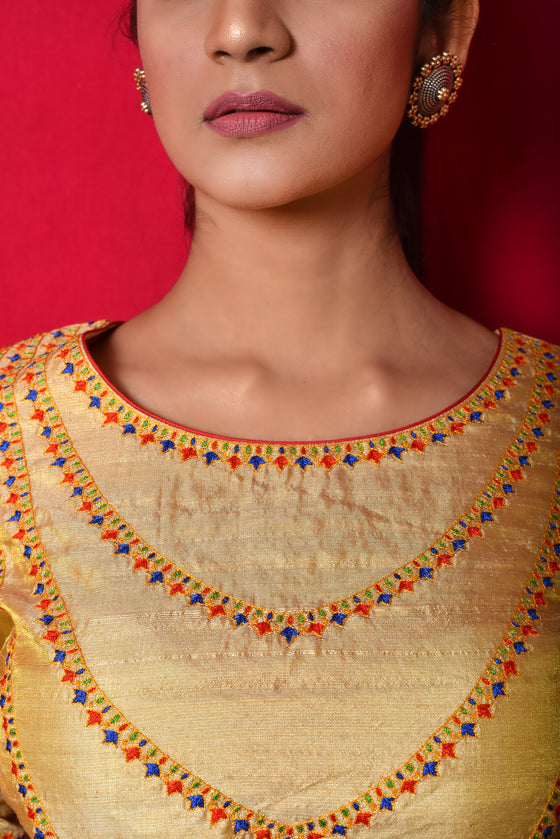 Necklace Design Resham Blouse in Gold