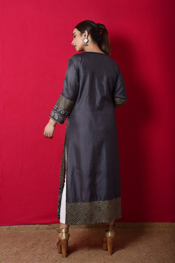 Coloured Bandhani Kurta in Grey