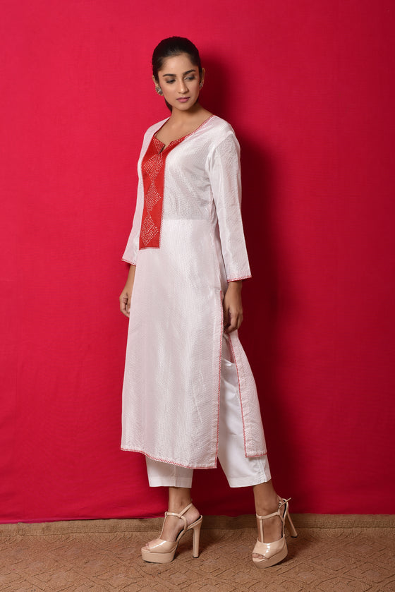 Thread Lines White Silk Kurta