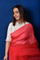 Bandhani on Organza Saree - Tomato Red