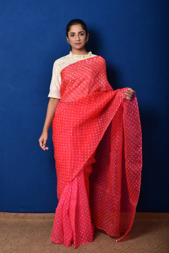 Bandhani on Organza Saree - Pink Red