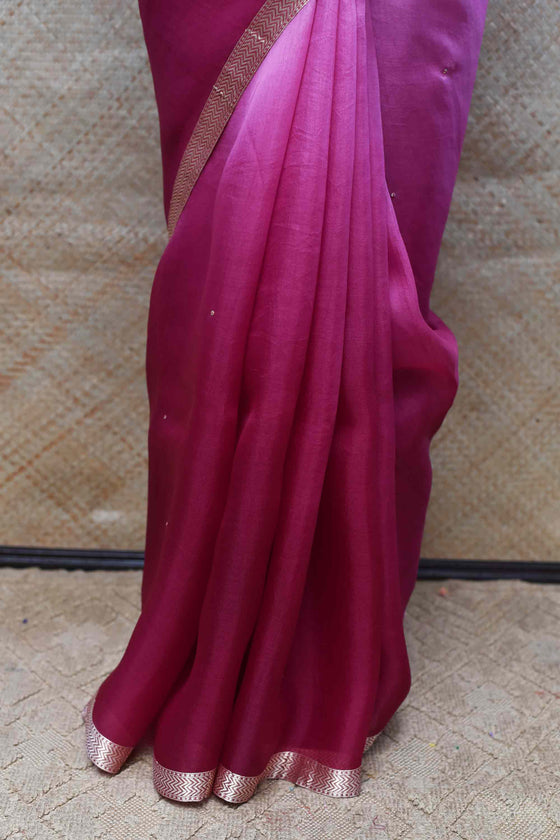 Shaded Organza Saree with Banarasi Bandhani Blouse - Purple