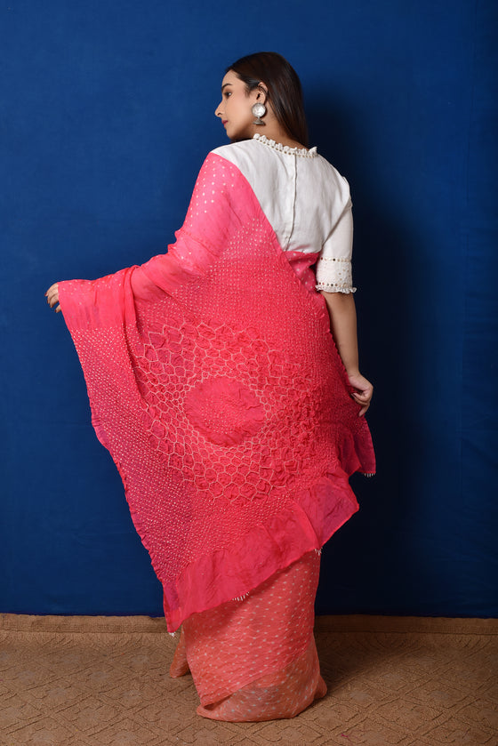 Bandhani on Organza with Pattern on Pallu - Peach Pink