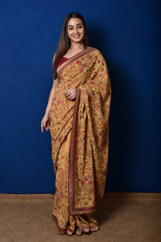 Hand Embroidered Aari Saree in Deep Cream