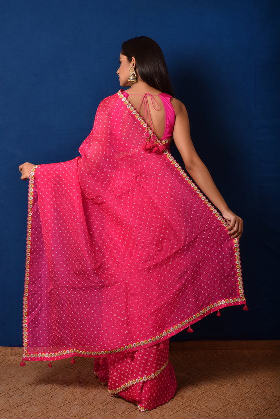 Bandhani on Organza Saree with Gota Patti Border