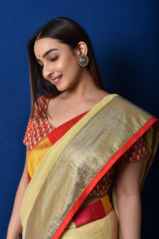 Shimmer Georgette Hand Dyed Saree in Yellow