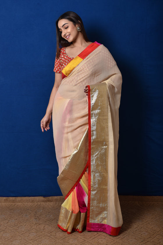 Shimmer Georgette Hand Dyed Saree in Cream