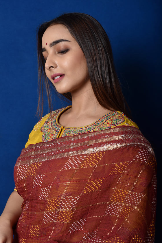 Geometric Patterned Zari Kota and Bandhani Saree in Rustish Brown
