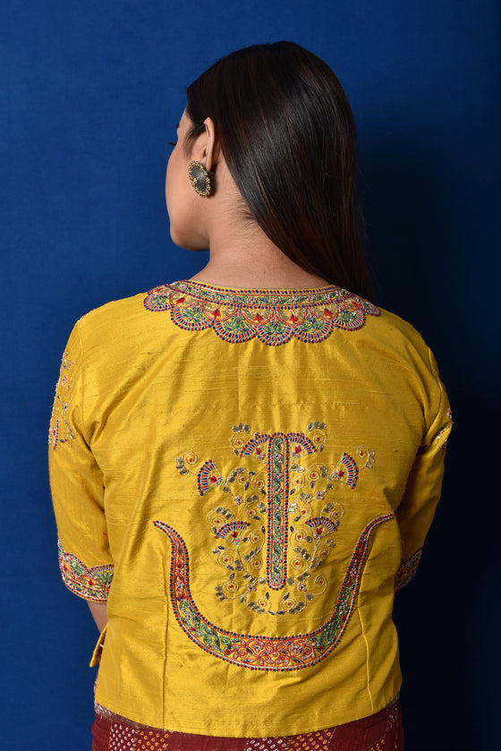 Gota Patti + Zardozi Raw Silk Blouse