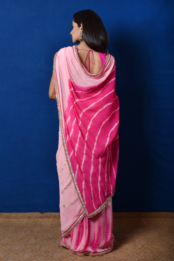 Pre Pleated Gota Embroidered Saree in Chiffon Chiffon - Pink