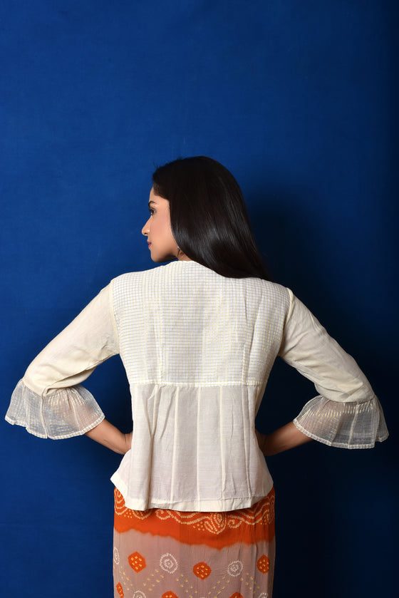 Flared Classic White Blouse