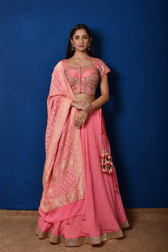 Peach Gota Patti + Mukaish Lehenga Set