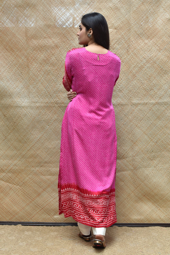 Intricate Bandhani on Gaji Silk Kurta - Fushcia and Red