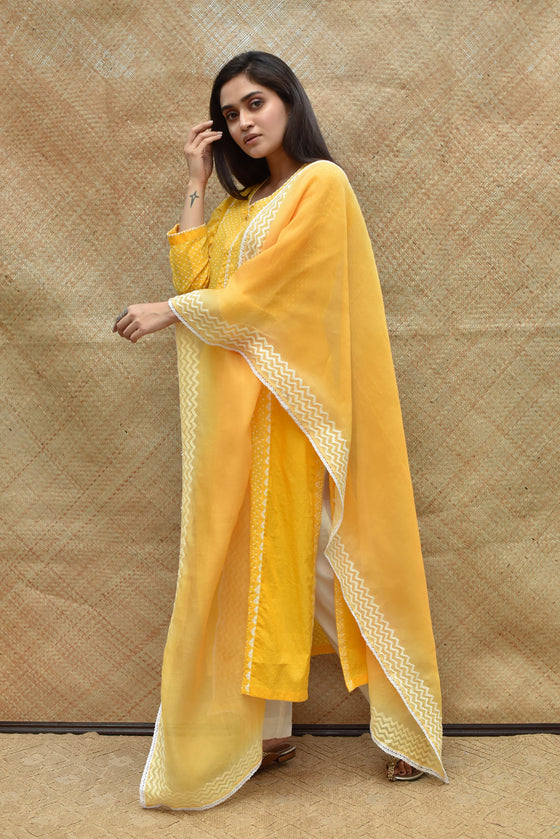 Bandhej Cotton Suit Set - Yellow
