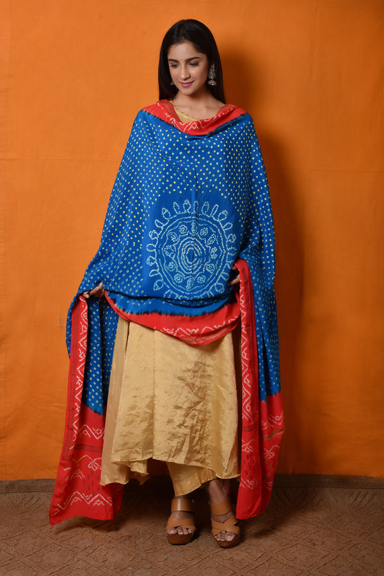 Bandhani Dupatta in Crepe - Blue Tomato Red