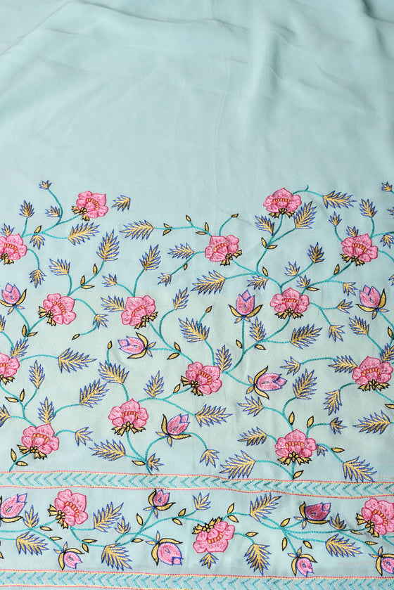 Floral Aari Hand Embroidered Saree in Sky Blue