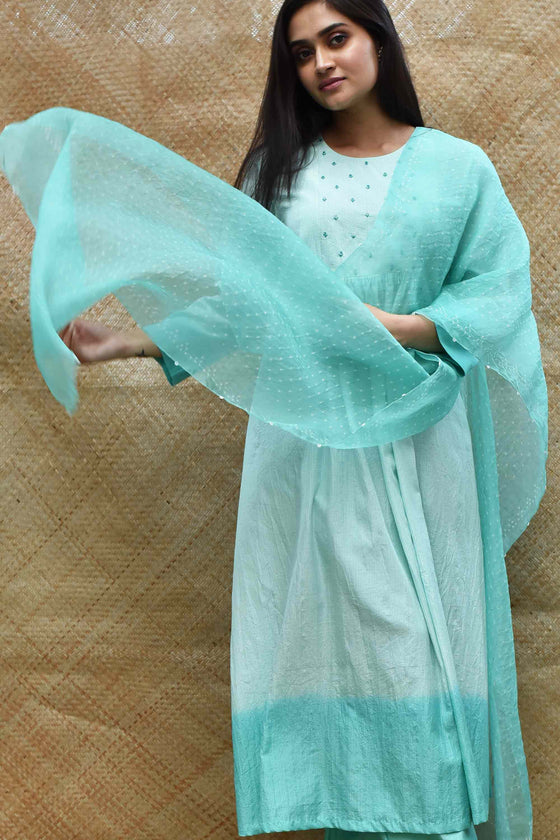 Bandhani on Pure Organza Dupatta - Sea Green