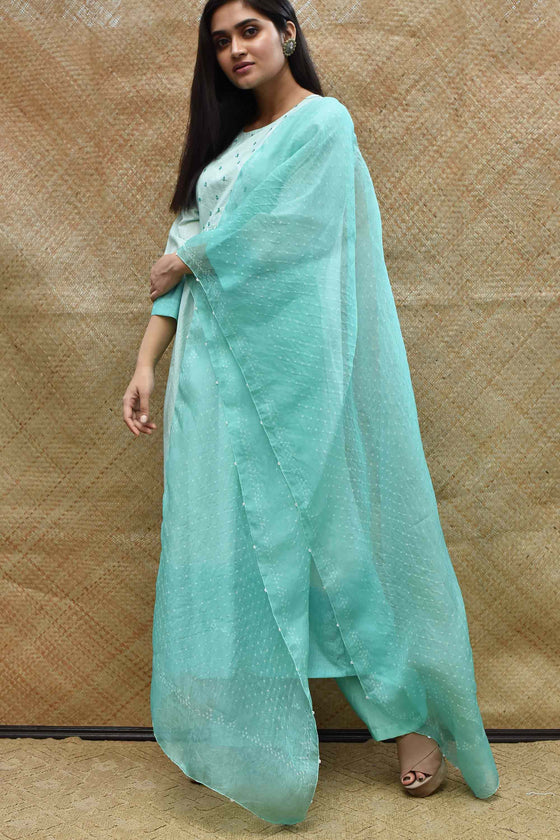 Bandhani on Pure Organza Dupatta - Sea GreenBandhani on Pure Organza Dupatta - Sea Green