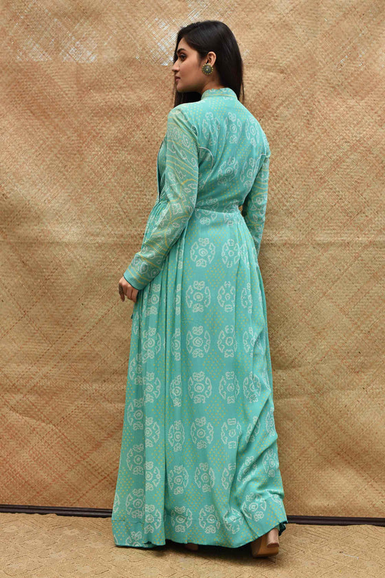 Teal Blue Bandhani Wrap Floor Length