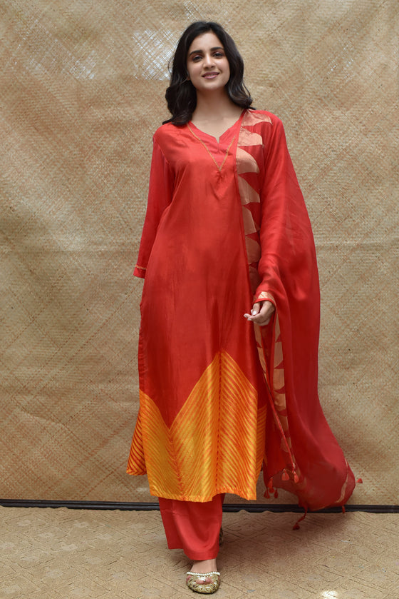 Bright Red Arashi Pure Silk Kurta