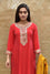 Red Silk Kurta with Sequence Work