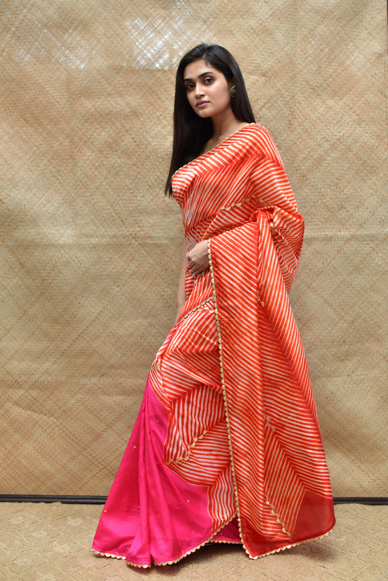 Arashi on Pure Silk Saree with Gota Patti - Fluorescent Pink Burnt Red