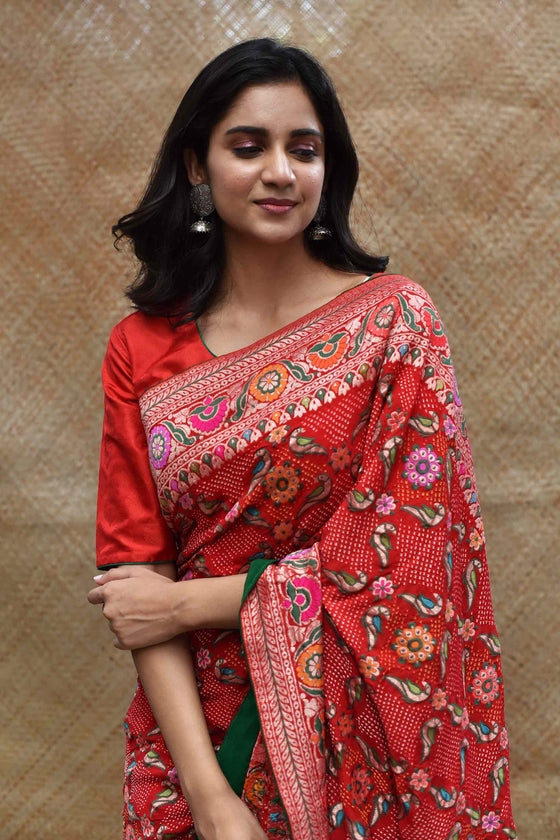 Bright Red Meenakari Banarasi Bandhani Saree