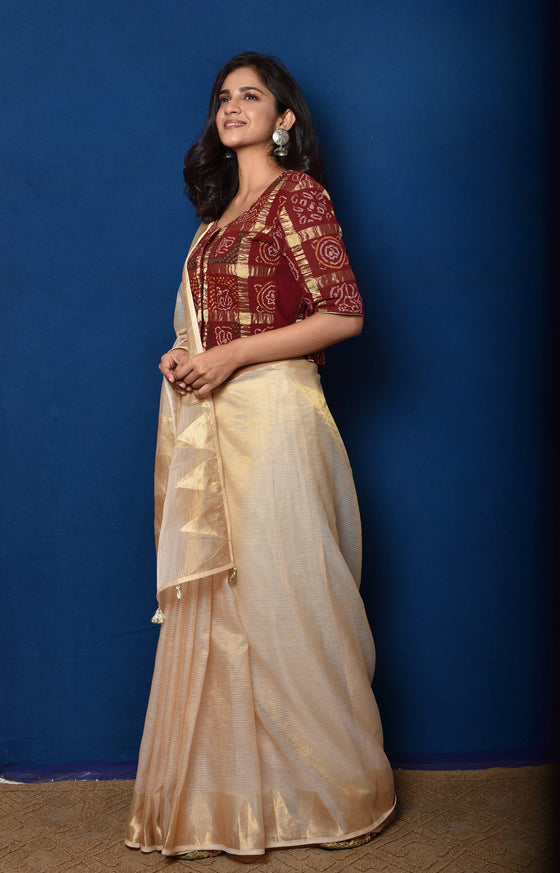 Off-White Banarasi Kota Tissue Saree with Gharchola Blouse