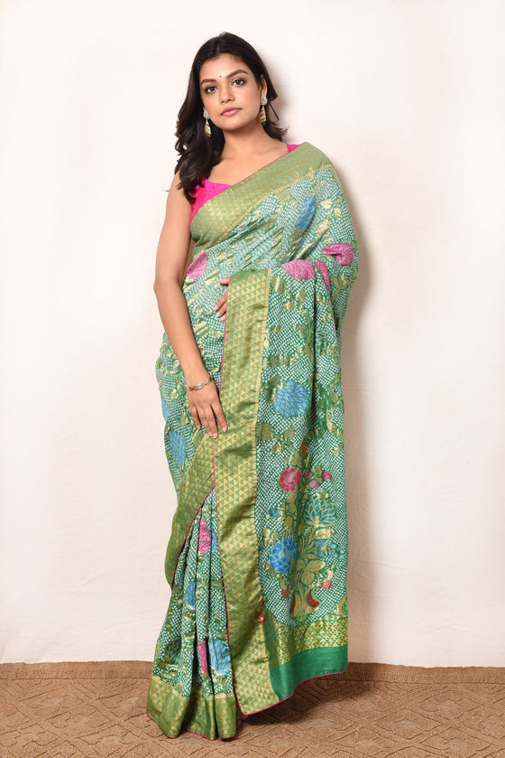 Floral Tussar Silk Saree in Green