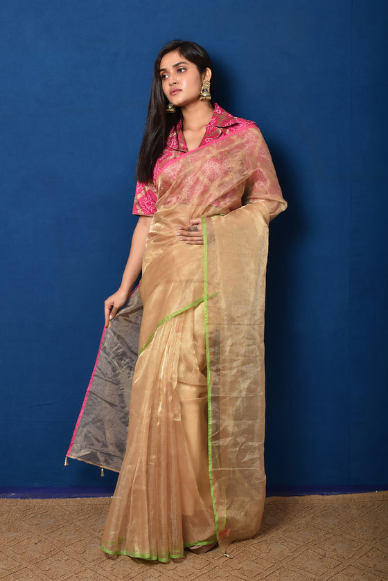Handwoven Tissue Saree with Banarasi Bandhani Blouse
