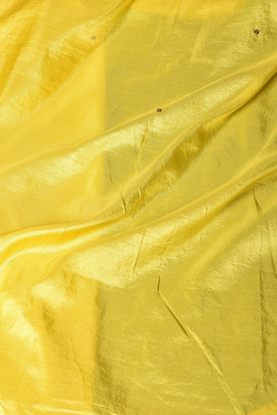 Arashi on Pure Silk Saree with Gota Patti - Yellow Green