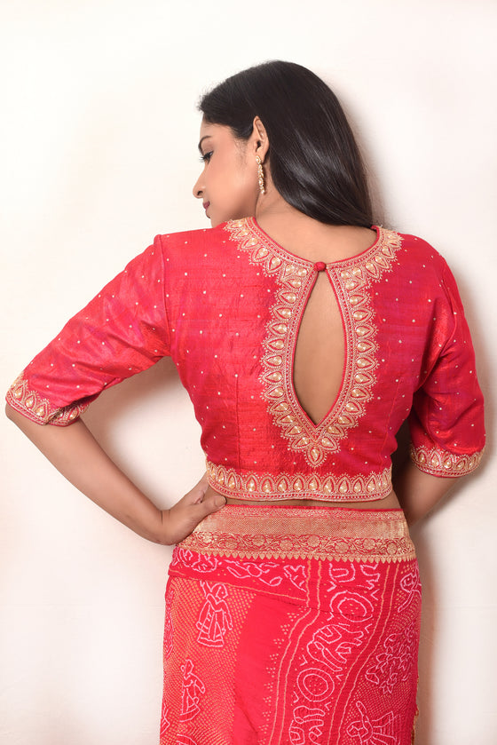 Tilla Work Hand Embroidered Raw Silk Blouse