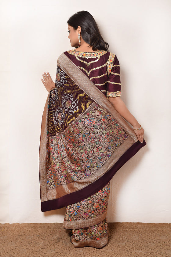 Broad Border Brown Meenakari Banarasi Bandhani Saree