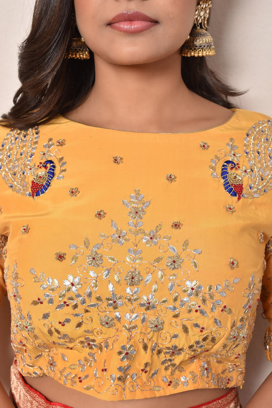 Yellow Gota Patti Blouse in Crepe