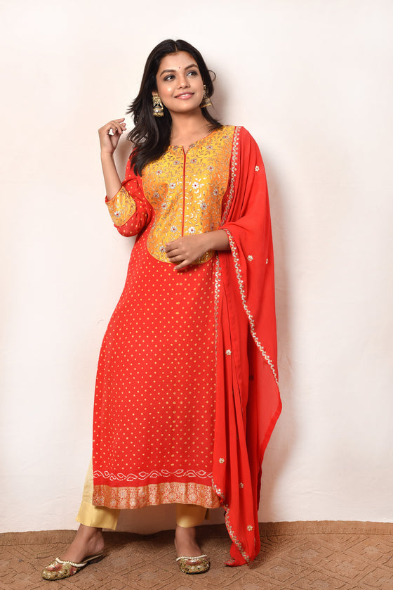 Red Banarasi Bandhani Kurta with Gota Patti Yoke