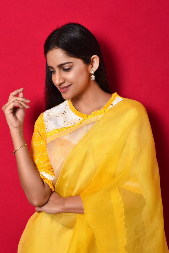 Shaded Organza Saree with Bandhani Blouse - Yellow White