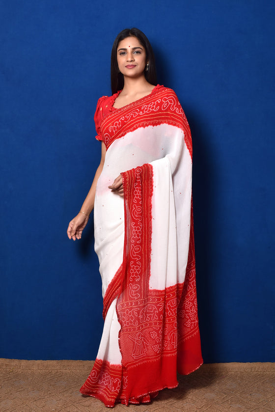 Classic Red and White Bandhani Chiffon Saree