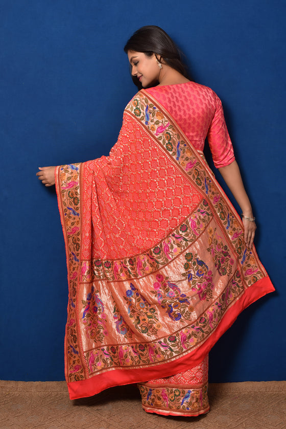 Meenakari Gharchola Banarasi Bandhani Saree in Orange