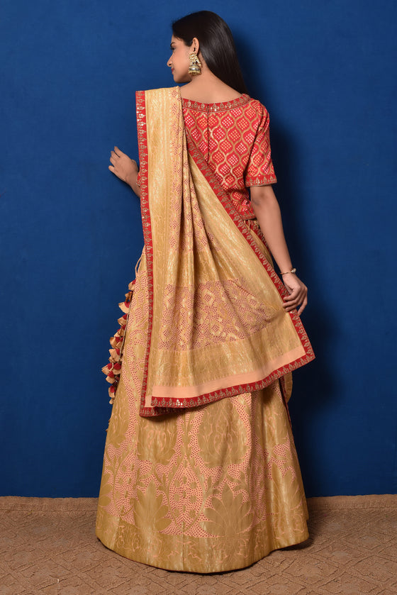 Cream Red Banarasi Bandhani Lehenga Set