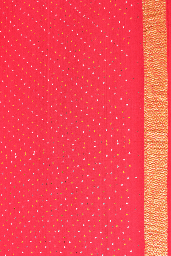 Broad Border Peach Banarasi Bandhani Saree