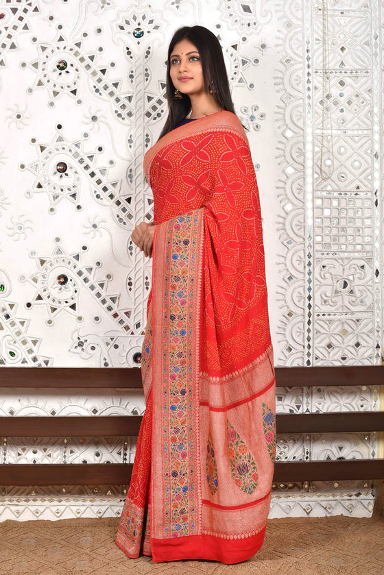 Red Light Meenakari Banarasi Bandhani Saree